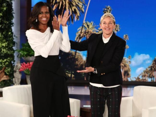 Michelle Obama on Ellen wearing designer Roland Mouret's pants. Picture: Supplied