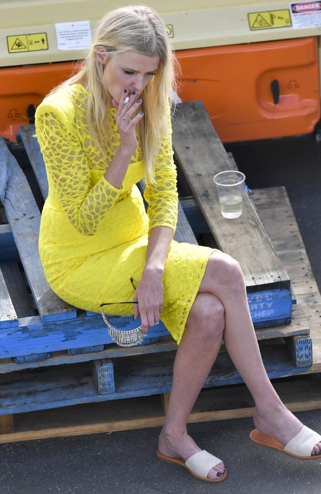Lara Stone at the end of the day at the Melbourne Cup. Picture: Supplied