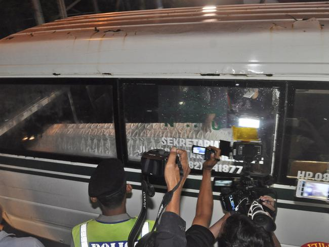 No clemency ... An ambulance carrying the coffin containing the body of drug convict Namaona Denis leaves upon arrival from Nusakambangan island. Picture: AP/Wagino