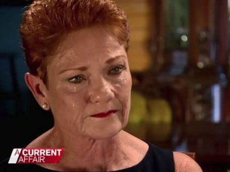 Pauline Hanson wept about betrayal and getting a 'kick in the guts' on A Current Affair. Picture:Nine Network.