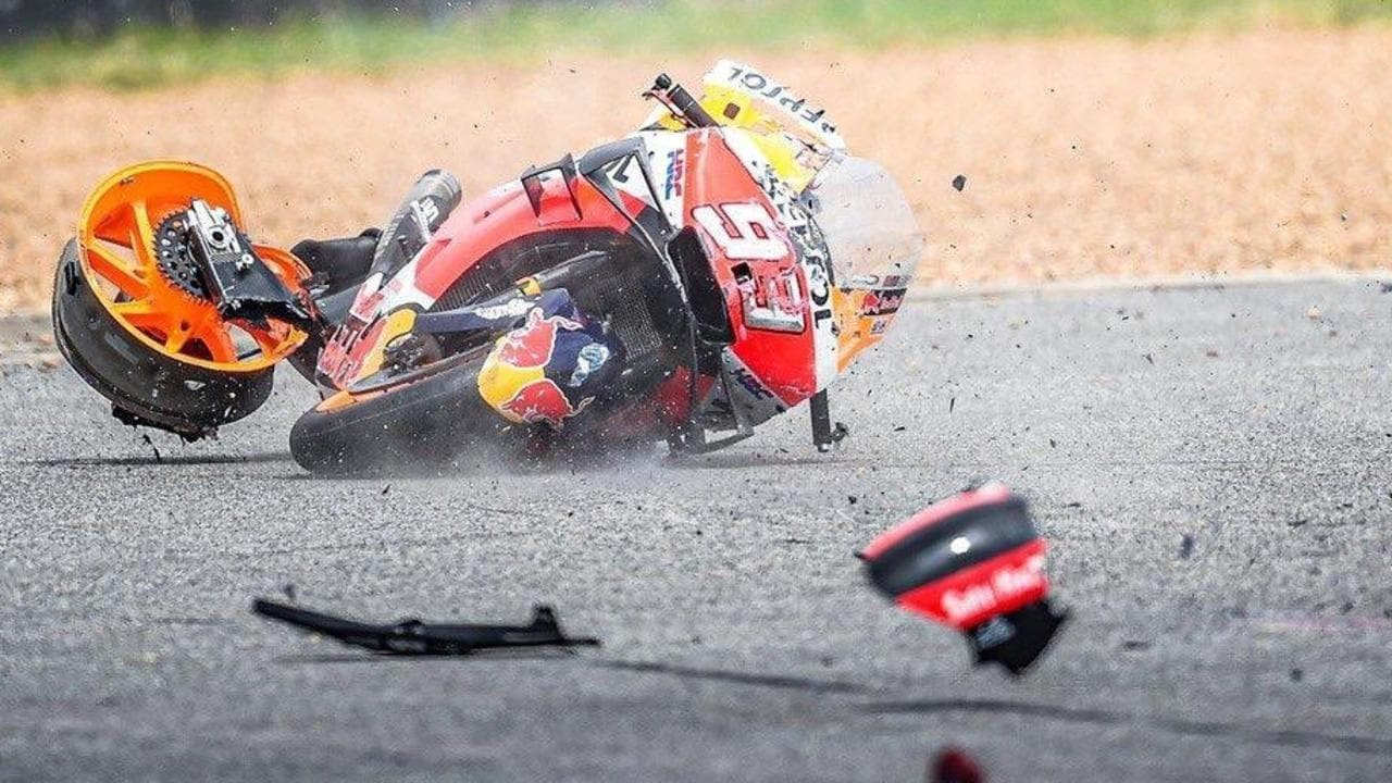 Marquez's ruined Honda comes to a rest. Picture: @ChangCircuit