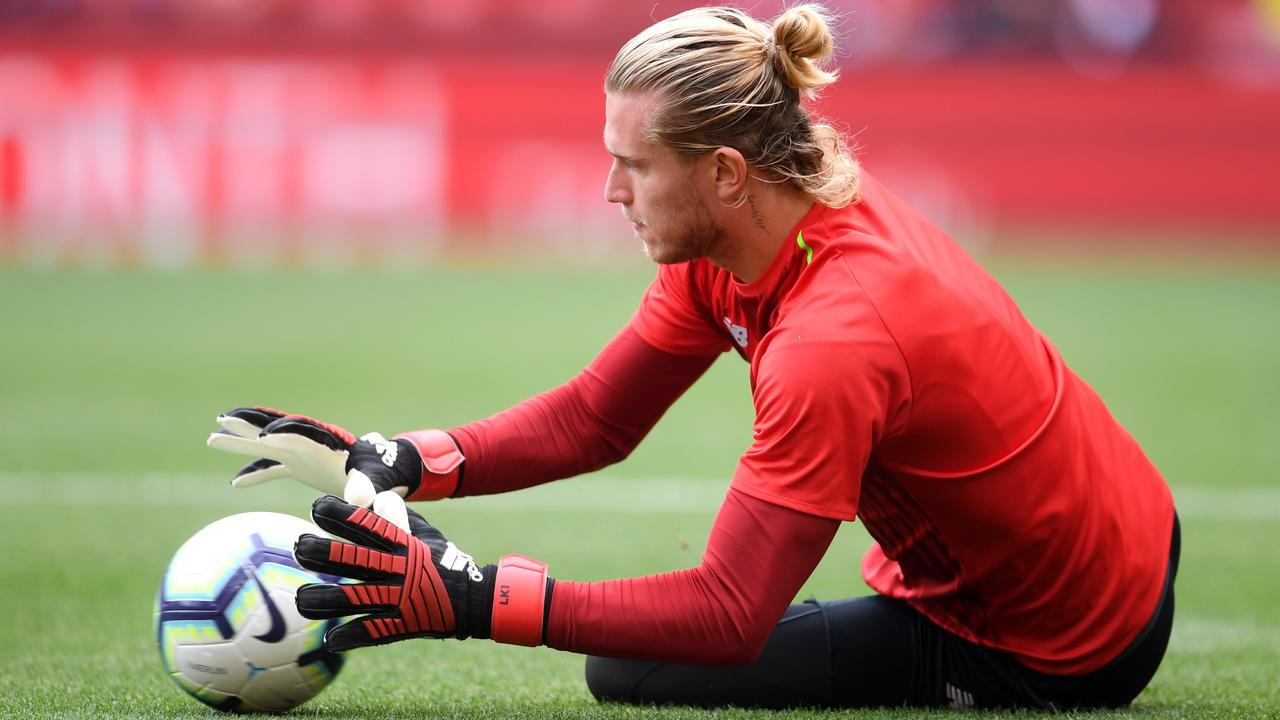 Loris Karius of Liverpool warms up prior to the West Ham game.
