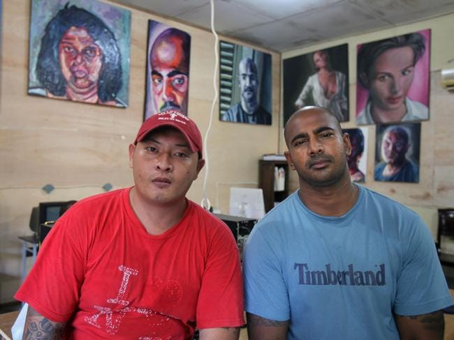 Chan and Sukumaran inside the workshop of Kerobokan jail in Bali. Picture: News Corp Australia.