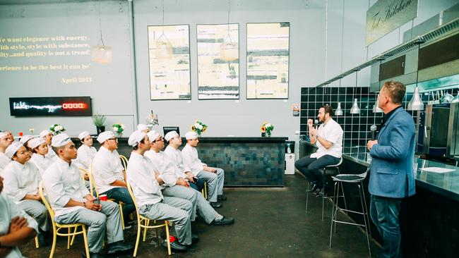 Kensington Street Social and Street Social group chef Jason Atherton addresses TAFE students as part of Luke Mangan's 2016 Inspired Series which addresses the shortage of trained chefs and hospitality staff in Australia. Currently there is a dropout rate of over 50 per cent for young chefs that are completing their apprenticeships. Supplied