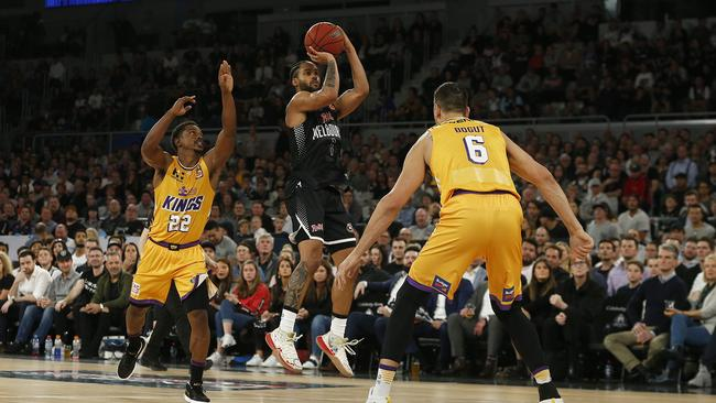 Melo Trimble of United shoots during the round five NBL match between Melbourne United and the Sydney Kings. Picture: Daniel Pockett/Getty Images
