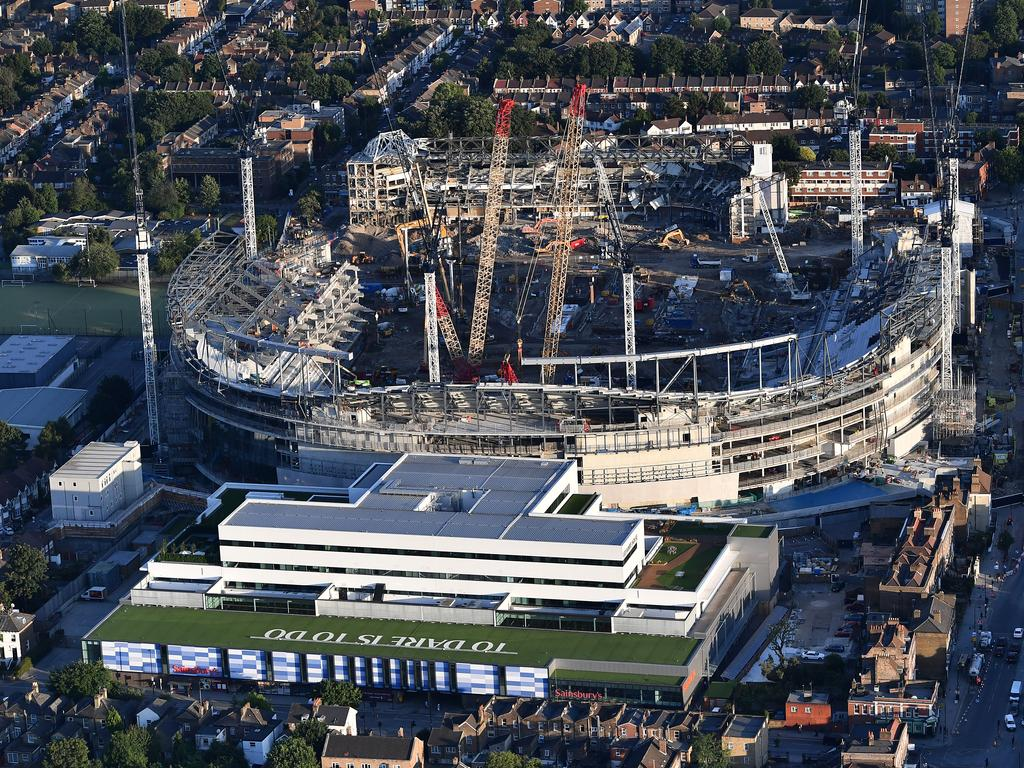 An aerial view of the White Hart Lane stadium as construction work continues.
