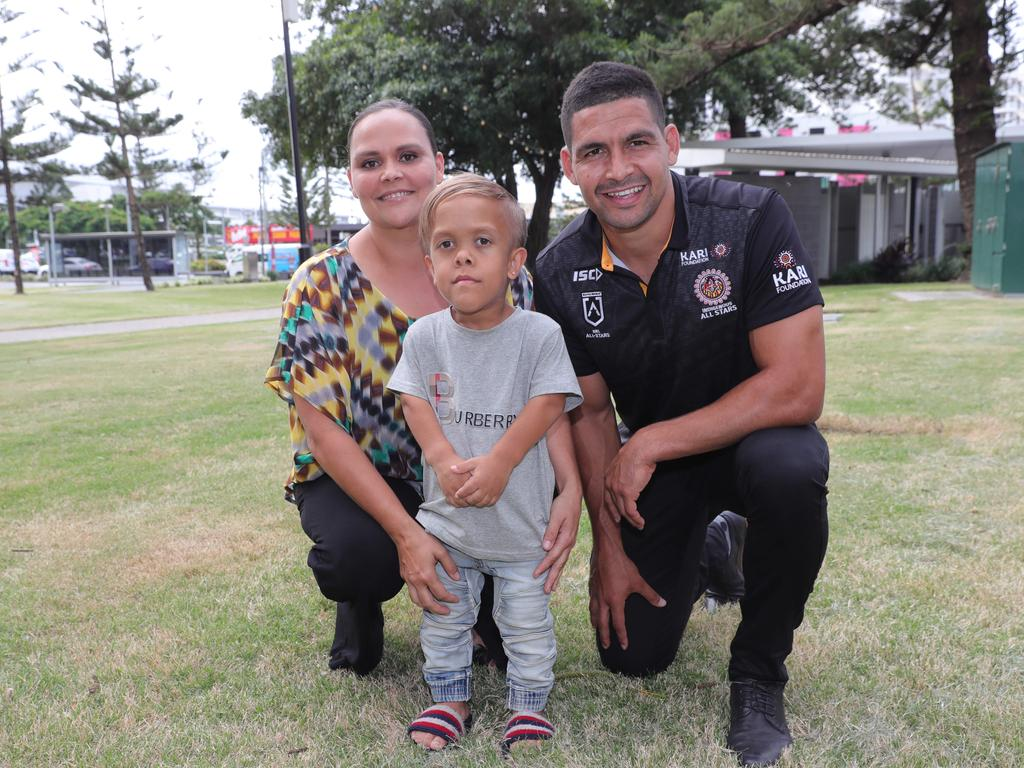 Quaden Bayles with his mother and NRL star Cody Walker at a press conference on Friday