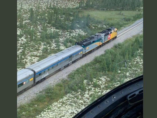 An aerial shot of the rail lines in the Gillam area taken during a police helicopter search. Picture: RCMP