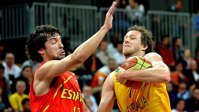 Australia's Joe Ingles takes on the defence of Spain's Sergio Llull. Picture: Brad Fleet