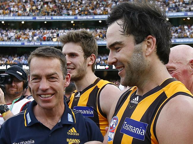 Alastair Clarkson and Jordan Lewis after the 2015 Grand Final win. Photo: Wayne Ludbey