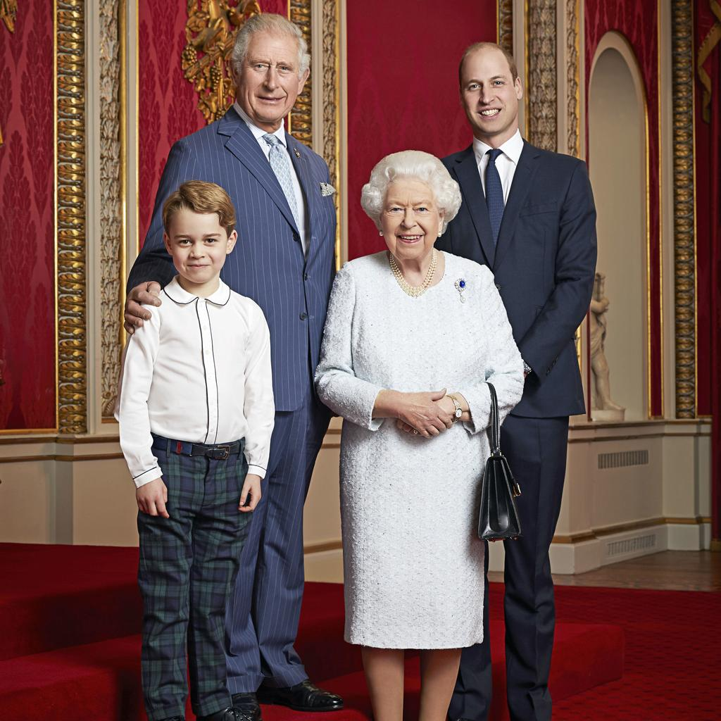 Queen Elizabeth, the Prince of Wales, the Duke of Cambridge and Prince George in 2019. Picture: Ranald Mackechnie via Getty Images