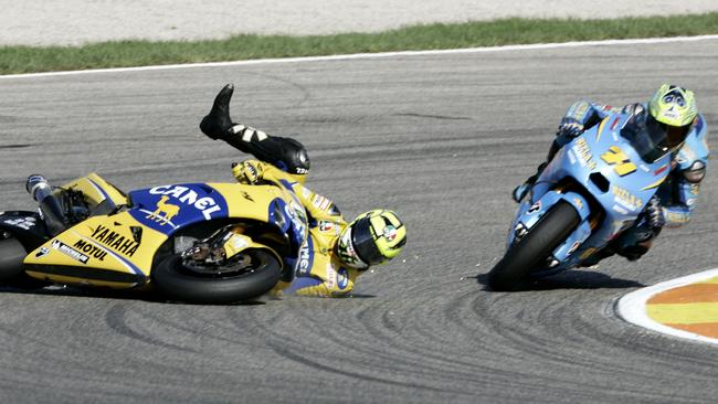 Rossi's fall in the early laps at Valencia.