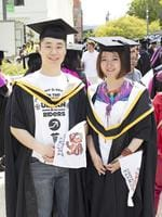 Wang Ze and Rui Zhou at the UTAS Graduation at Launceston. PICTURE CHRIS KIDD