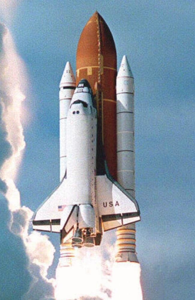 The Columbia space shuttle lifts off on November 19, 1996.