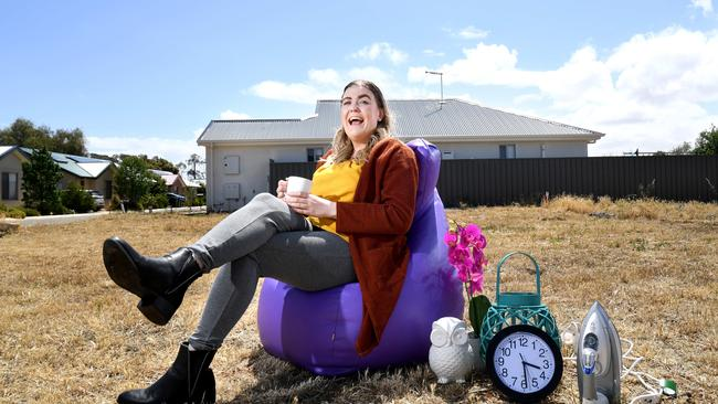 First homebuyer Mikaela Philbey, 25, has bought a house and land package with Co-Built Affordable & Sustainable Housing. Picture: Tricia Watkinson.