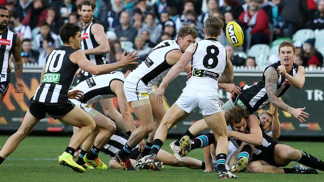 Magpie Dayne Beams set the tone with 20 disposals in the first half. Picture: George Salpigtidis