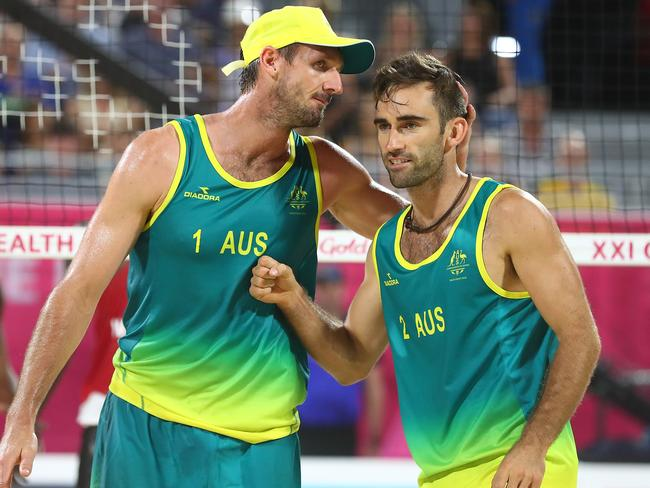 Beach Volleyball players Damien Schumann and Christopher McHugh. Picture: Chris Hyde/Getty Images