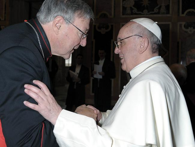 Big job ... Cardinal George Pell meets with Pope Francis on 15th March 2013. Picture: Supplied