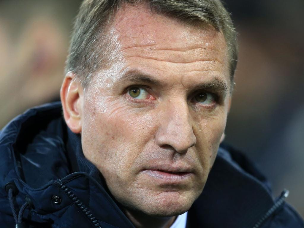 Leicester City's Northern Irish manager Brendan Rodgers looks on during the English Premier League football match between Norwich City and Leicester City at Carrow Road in Norwich, eastern England on February 28, 2020. (Photo by Lindsey Parnaby / AFP) / RESTRICTED TO EDITORIAL USE. No use with unauthorized audio, video, data, fixture lists, club/league logos or 'live' services. Online in-match use limited to 120 images. An additional 40 images may be used in extra time. No video emulation. Social media in-match use limited to 120 images. An additional 40 images may be used in extra time. No use in betting publications, games or single club/league/player publications. /