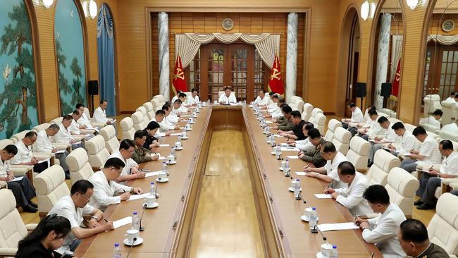 In this picture of this week's politburo meeting in Pyongyang, Kim Yo-jong, who has been at Kim Jong-un's side for years, was absent. Picture: STR / various sources / AFP.