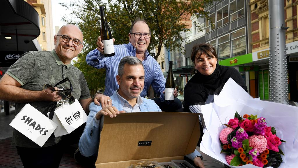 Opt Shop Optometry &amp Shades owner Dennis Karis, Georges on Waymouth owner George Kasimatis, East End Cellars owner Michael Andrewartha and Connie Rhigas, owner of Adelaide Flower House. Picture: Tricia Watkinson
