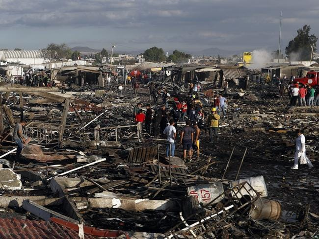 The burnt-out remains of Mexico's best-known fireworks market after an explosion ripped through it. Picture: AP