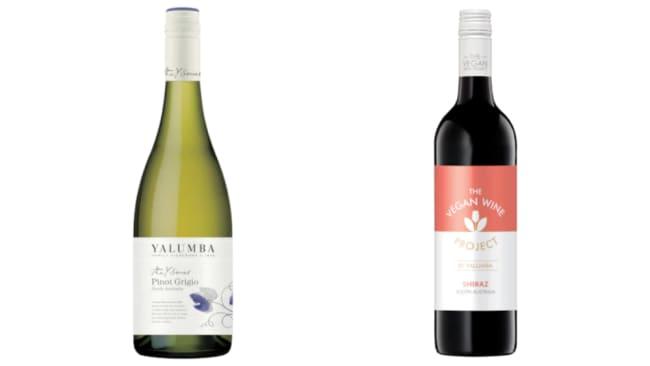 The Vegan Wine Project's Shiraz ($16) and Yalumba's Y Series Pinot Grigio ($14) from BWS. Source: BWS.