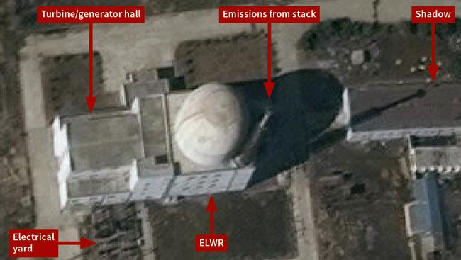 Increased activity at the Yongbyon experimental light water reactor in North Korea, suggests trial operations are under way. Picture: DigitalGlobe/IHS Markit via AP