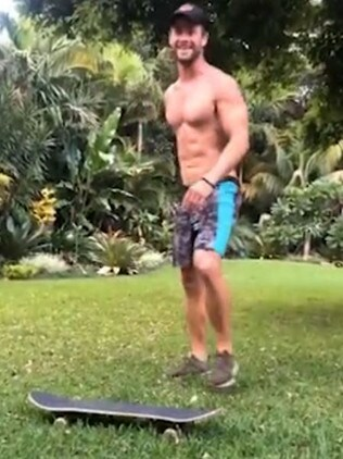 Chris Hemsworth has left his mates in stitches as he desperately tries to master some skateboarding moves.