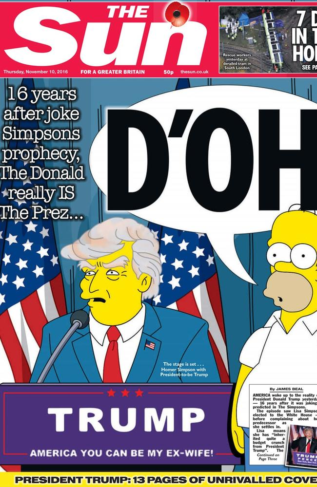 The Sun shows the election of Donald Trump which was a Simpsons joke until it happened. Picture: The Sun