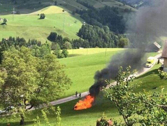 Hammond escaped from the car before it burst into flames. Picture: Amazon