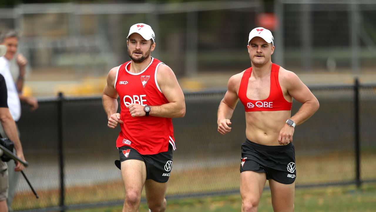 New recruit Sam Gray and Tom Papley during the Swans' pre-season.