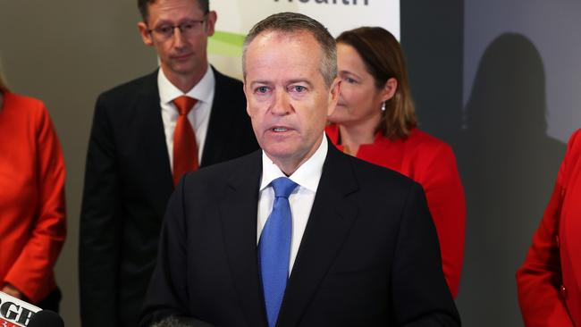 Bill Shorten gets emotional during a doorstop today. Picture: Liam Kidston