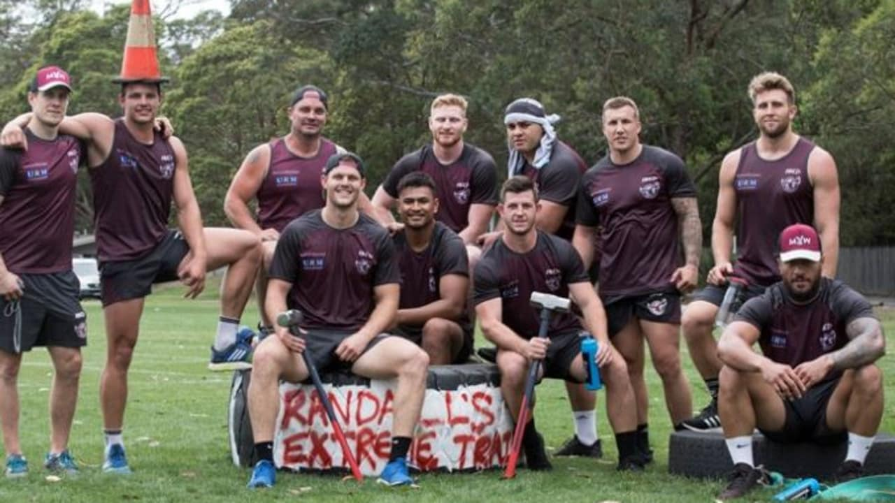 Sea Eagles players are all smiles after completing a fitness session.