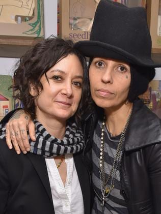 Sara Gilbert and wife, Linda Perry. Picture: Getty