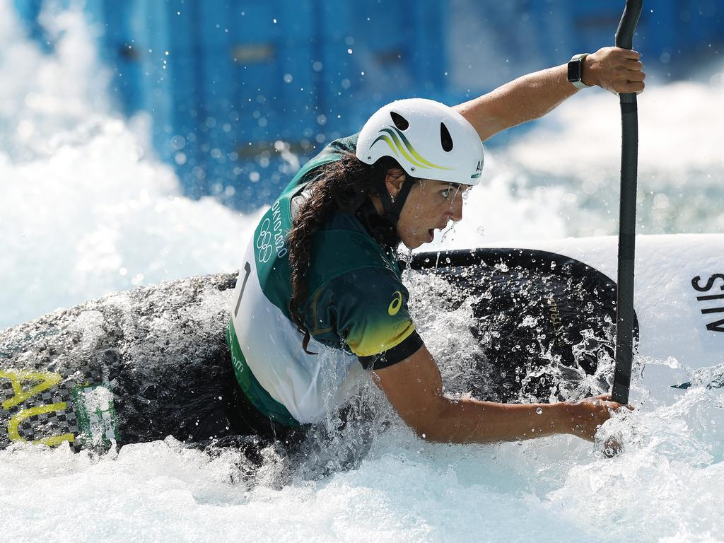 TOKYO, JAPAN - JULY 25: Jessica Fox of Team Australia competes in the Women's Kayak Slalom Heats 1st Run on day two of the Tokyo 2020 Olympic Games at Kasai Canoe Slalom Centre on July 25, 2021 in Tokyo, Japan. (Photo by Cameron Spencer/Getty Images)