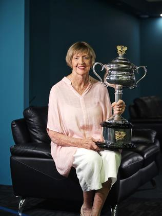 Margaret Court, pictured with a commemorative Daphne Akhurst Memorial Cup.