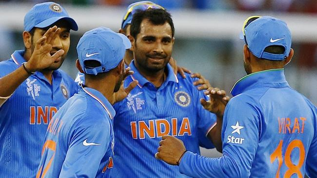 Mohammed Shami (second right): We are 100 per cent ready to take on the Australian sledging.