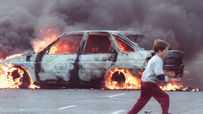 For many in Northern Ireland, memories of The Troubles are still raw. This picture shows Belfast in 1996.