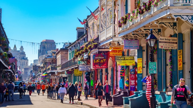The infamous Bourbon Street in New Orleans. Photo: Supplied