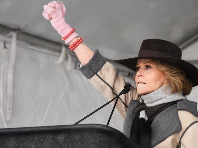Jane Fonda speaks onstage at the Respect Rally in Park City, Utah during the 2018 Sundance Film Festival. Picture: Getty