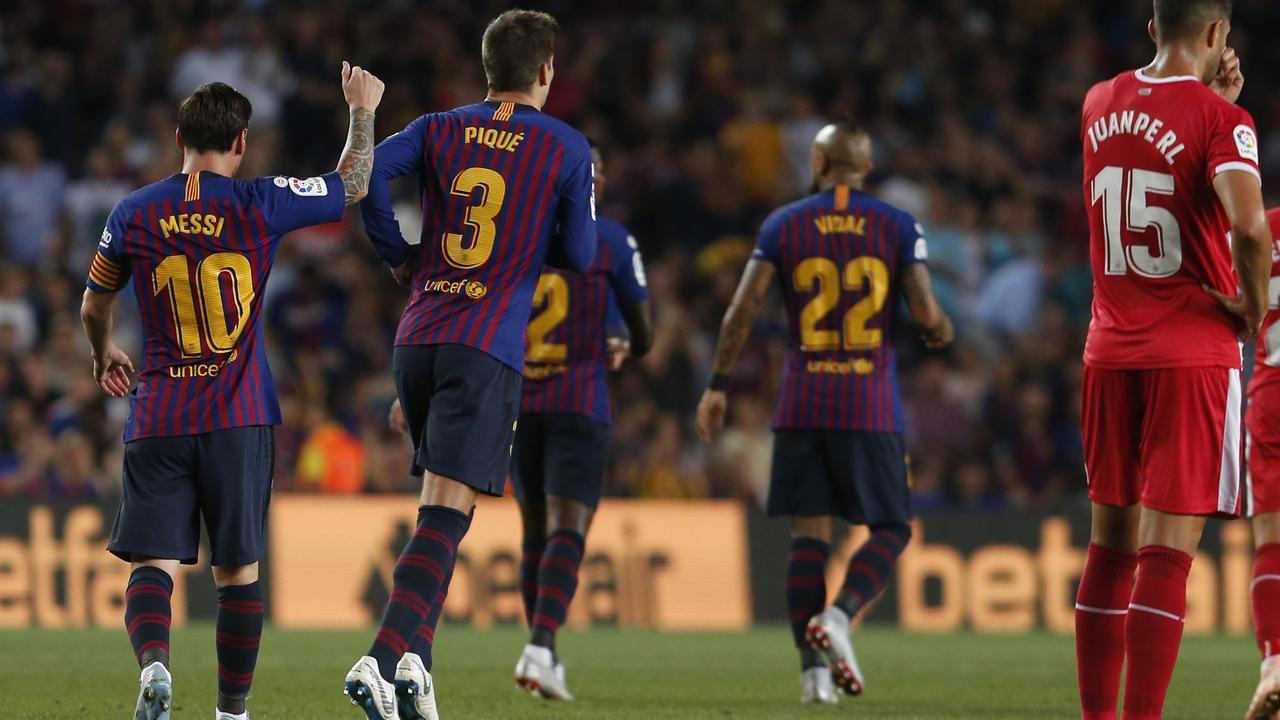 2d8a73e85 Messi celebrates scoring the opening goal for Barca.