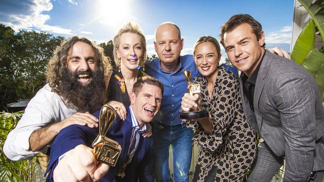 2019 Gold Logie nominees Costa Georgiadis, Amanda Keller, Sam Mac, Tom Gleeson, Eve Morey and Rodger Corser. Missing is Waleed Aly.