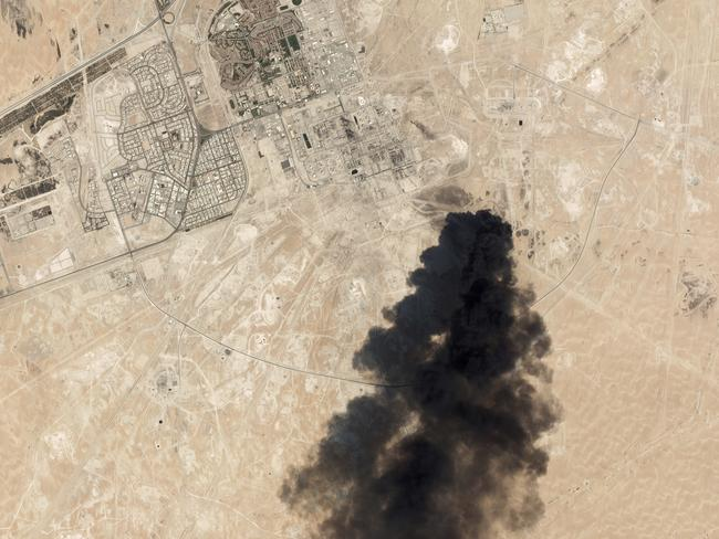 Thick black smoke rising from Saudi Aramco's Abqaiq oil processing facility. Picture: Planet Labs Inc/AP