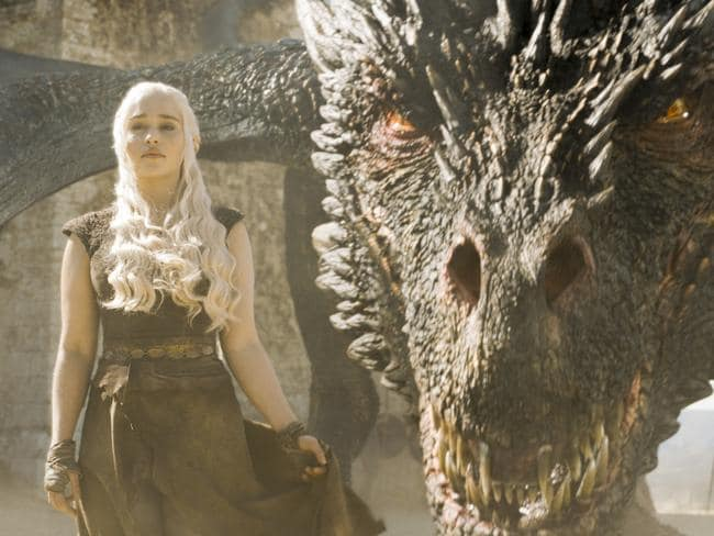 Daenerys Targaryen and her dragons on their way to Westeros to claim the Iron Throne. Picture: Foxtel
