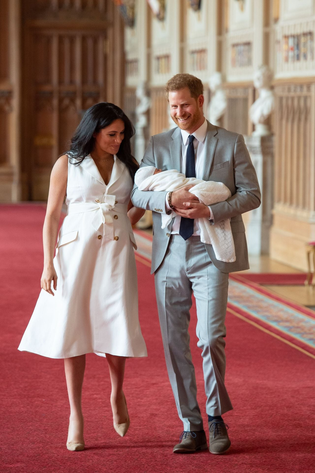 0535d8b0e6c84 The significance behind Meghan Markle's Grace Wales Bonner tuxedo dress for  first photos with son Archie
