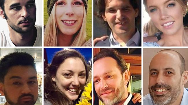 London Bridge and Borough Market attack victims: (top left to right) Alexandre Pigeard of France, Christine Archibald of Canada, Ignacio Echevarria of Spain, Sara Zelenak of Australia, James McMullen of Britain, Kirsty Boden of Australia, Xavier Thomas of France, and Sebastien Belanger of France. Picture: AFP/Metropolitan Police