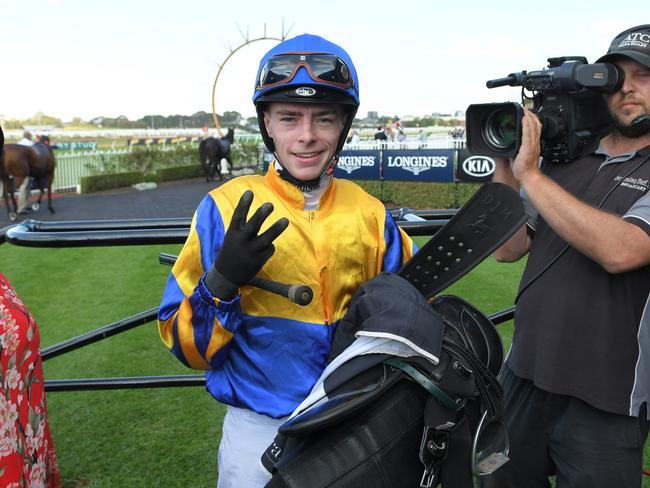 Robbie Dolan in the mounting yard after riding Strome to victory.