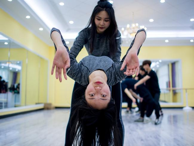 Wang Xin attending a dance class at the university. Picture: Johannes Eisele