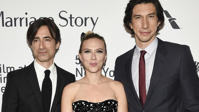 Director Noah Baumbach with Marriage Story stars Scarlett Johansson and Adam Driver. Picture: Evan Agostini/Invision/AP